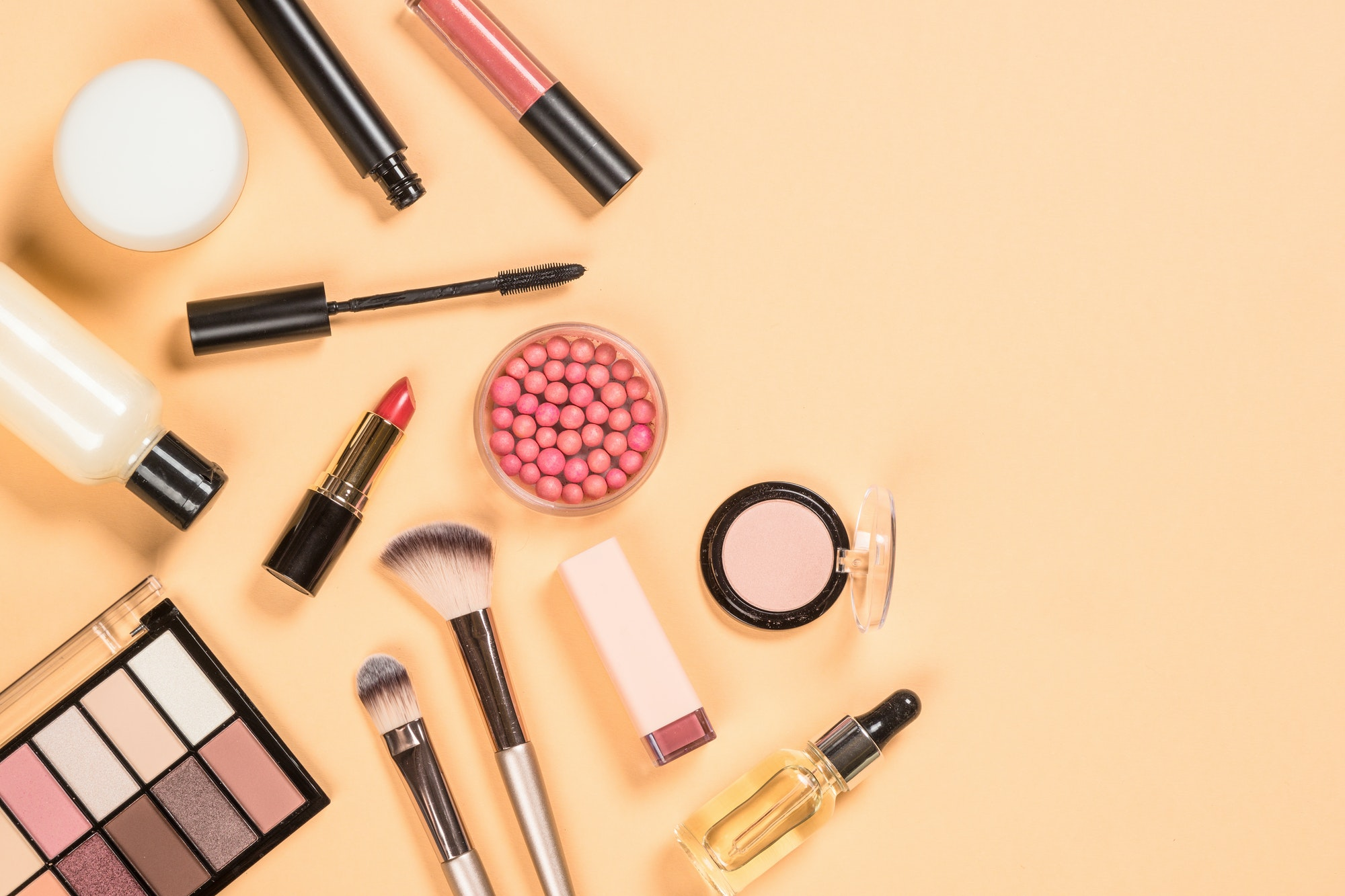 Professional make up products flat lay.