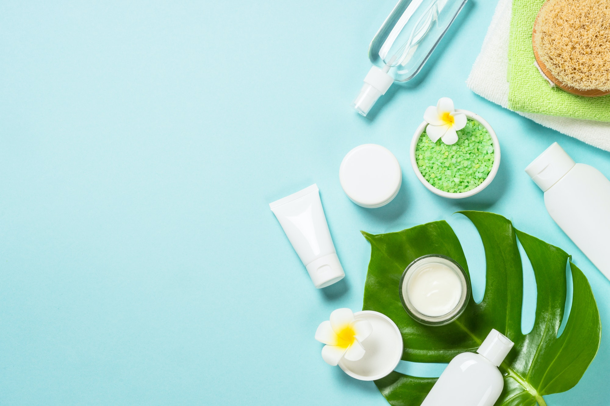 Spa background at blue, flat lay.