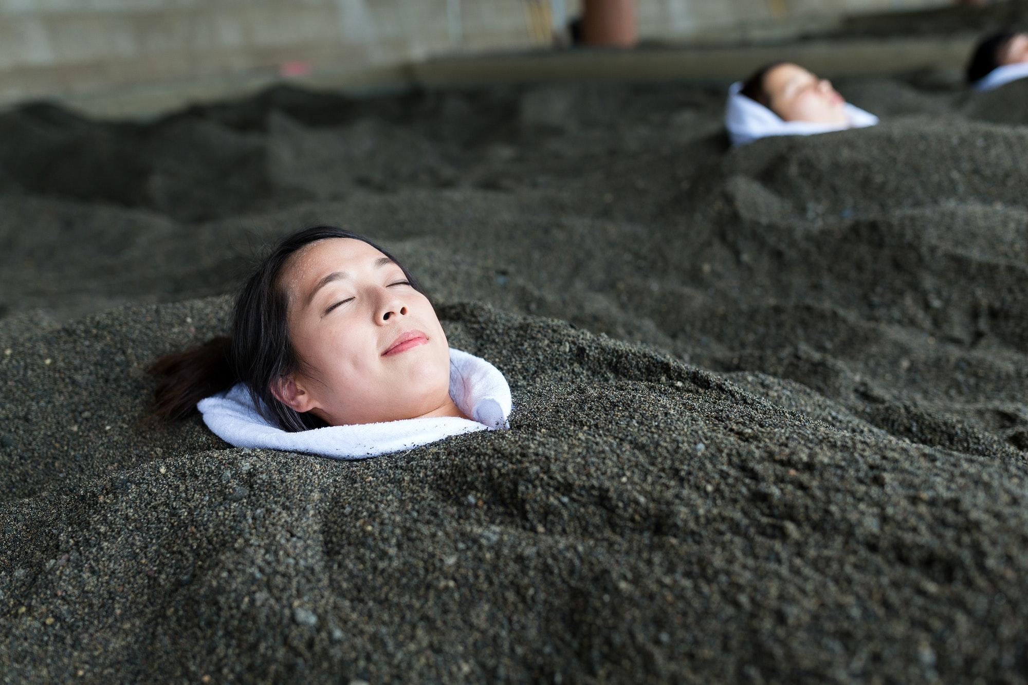 Woman enjoy Surigahama Spa in Ibusuki